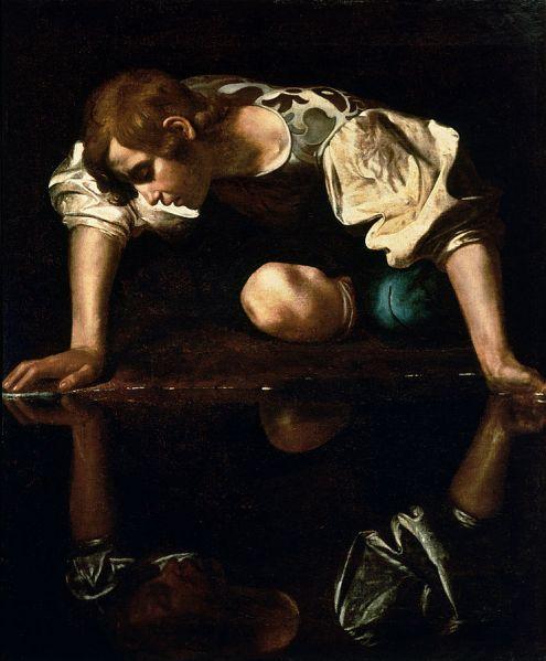 743px-Narcissus-Caravaggio_(1594-96)_edited